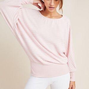 Anthro Shawna Hacci Fuzzy Ribbed Dolman Sweater Pink Medium Loose Oversized